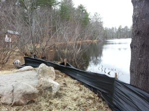 Erosion control at Chaffin Pond. Stetson photo